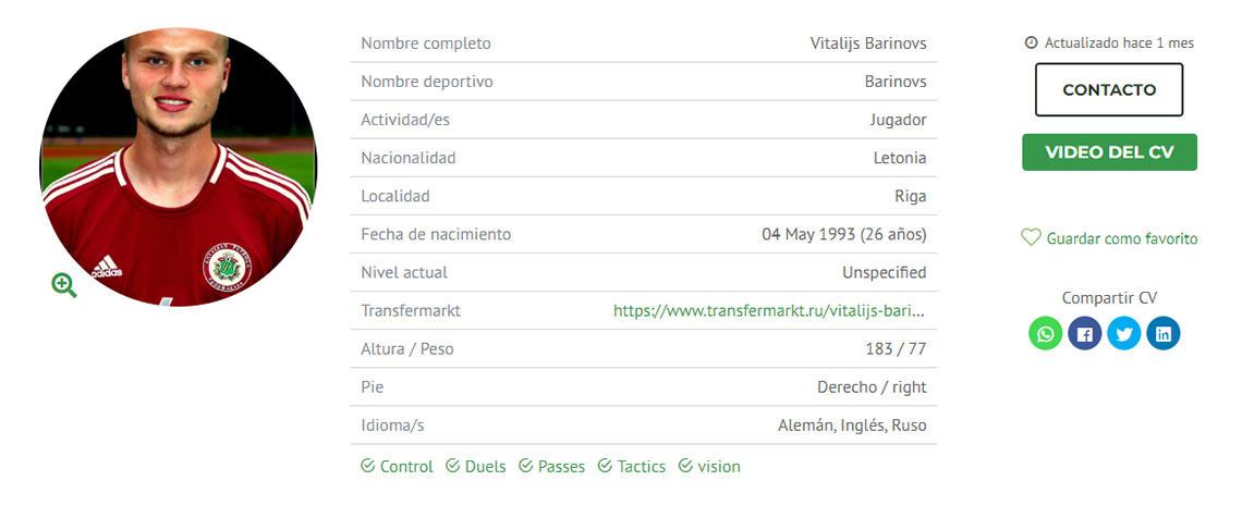 Perfil de Vitalijs Barinovs en futboljobs.com